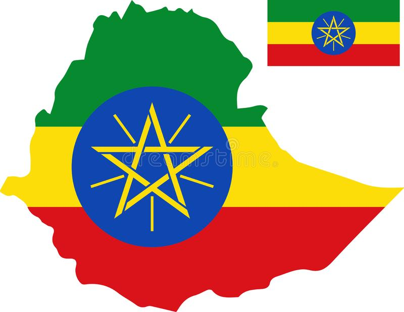 埃塞俄比亚的传染媒介地图有旗子的 被隔绝的,白色背景 向量例证