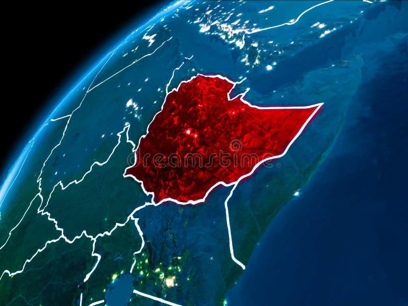 埃塞俄比亚的地图在晚上 库存例证