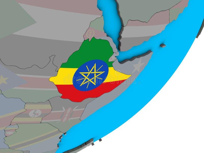 埃塞俄比亚的地图有旗子的在地球 向量例证