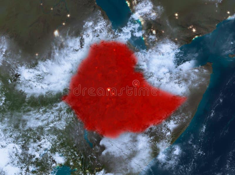 埃塞俄比亚的夜视图 库存例证