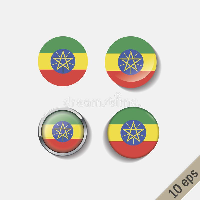 埃塞俄比亚的套下垂围绕徽章 向量例证