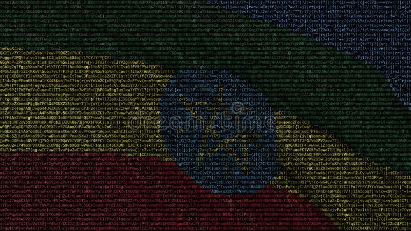 埃塞俄比亚的挥动的旗子做了文本标志在屏幕 3d概念性翻译 皇族释放例证