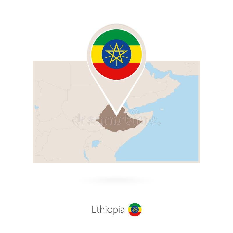 埃塞俄比亚的长方形地图有埃塞俄比亚的别针象的 皇族释放例证