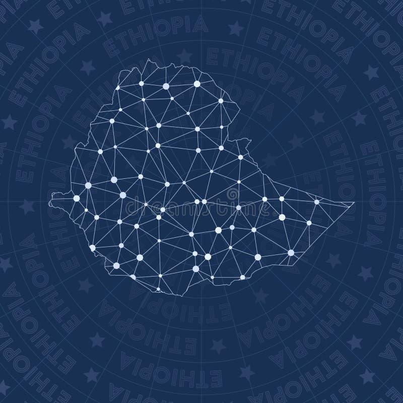 埃塞俄比亚网络,星座样式国家地图 皇族释放例证