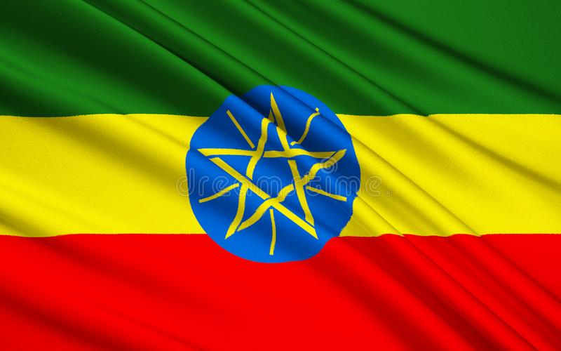 埃塞俄比亚,亚的斯亚贝巴的旗子 库存例证