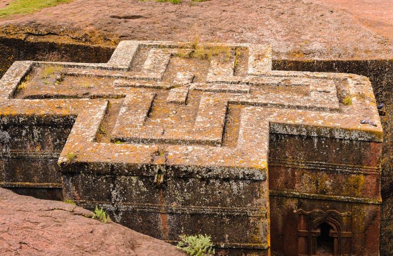 埃塞俄比亚,拉利贝拉。Moniolitic岩石裁减教会 图库摄影