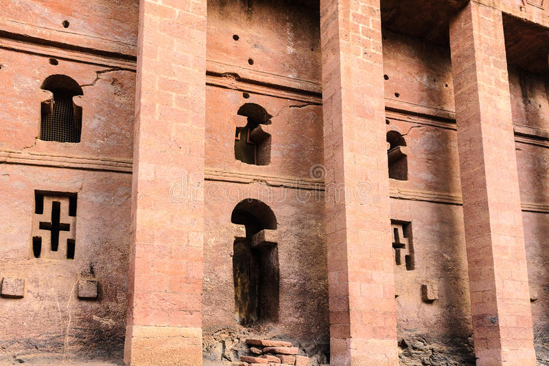 埃塞俄比亚, Lalibela。Moniolitic岩石裁减教会 免版税库存图片