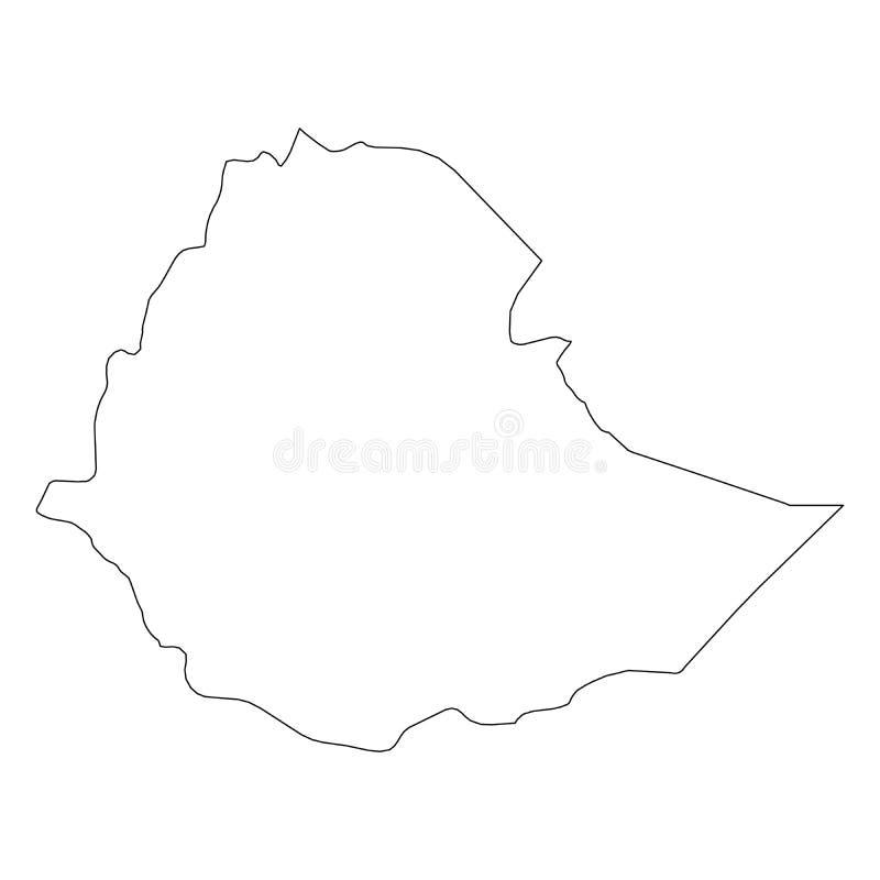 埃塞俄比亚-国家区域坚实黑概述边界地图  简单的平的传染媒介例证 库存例证