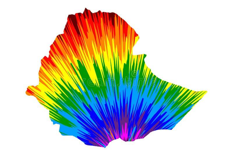 埃塞俄比亚-地图是被设计的彩虹摘要五颜六色的样式,埃塞俄比亚联邦民主共和国非洲之角地图做了  向量例证