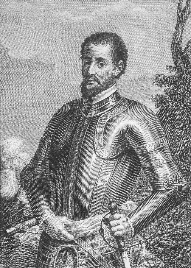 埃尔南多・德・索托画象,西班牙征服者 免版税库存照片