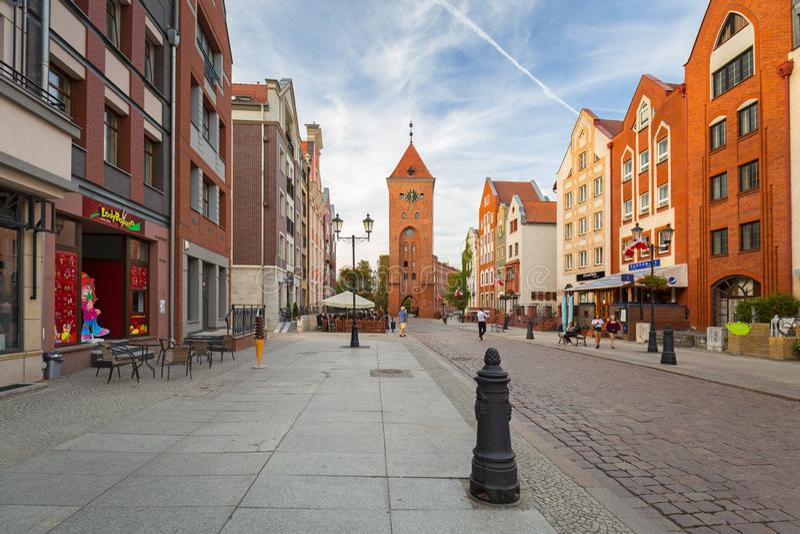 埃尔布隆格,波兰老镇的建筑学  库存照片