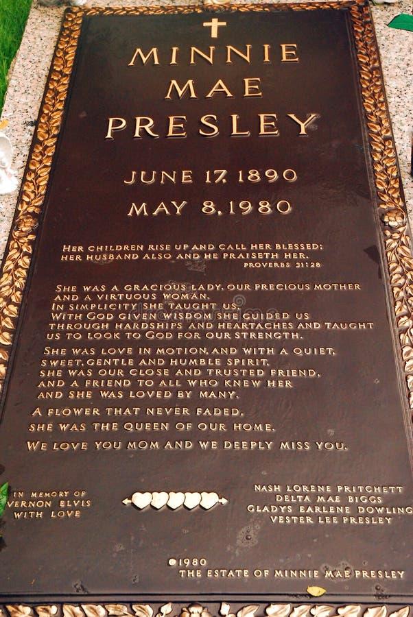 埃尔维斯・皮礼士利` s母亲坟墓  库存照片