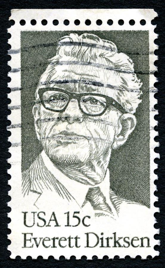 埃弗里特德克森美国邮票 库存照片
