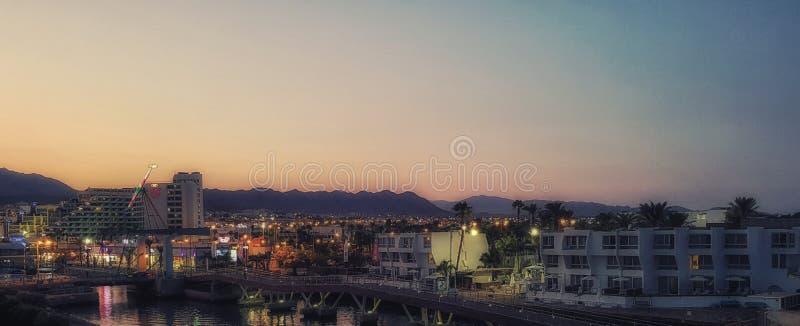 埃拉特,以色列,在晚上 库存图片