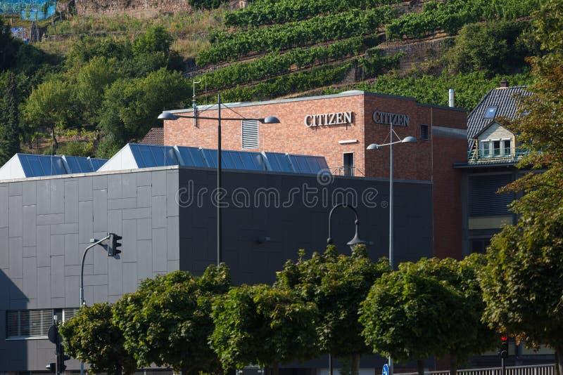 埃斯林根县,巴登-符腾堡州/德国- 19 08 18:在一个大厦的公民标志在esslingen德国 图库摄影