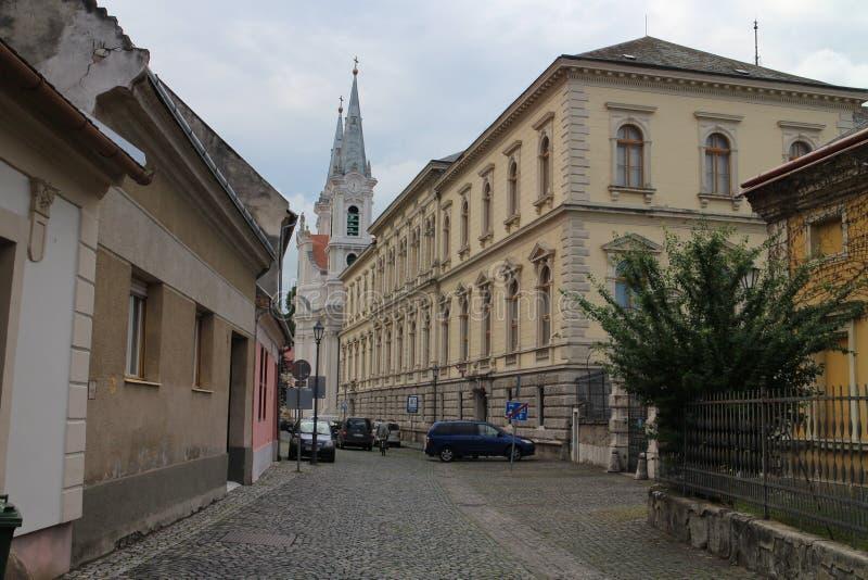 埃斯泰尔戈姆的市中心有圣伊格纳罗教会的 免版税库存图片