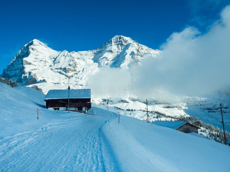 埃格尔峰顶,修士山峰美好的全景的冬天视图  瑞士的阿尔卑斯 库存照片