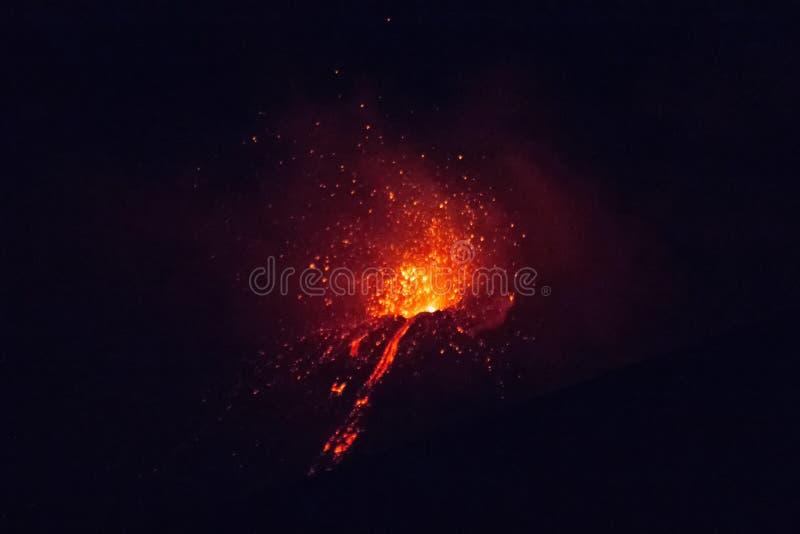 埃特纳火山爆发 库存照片