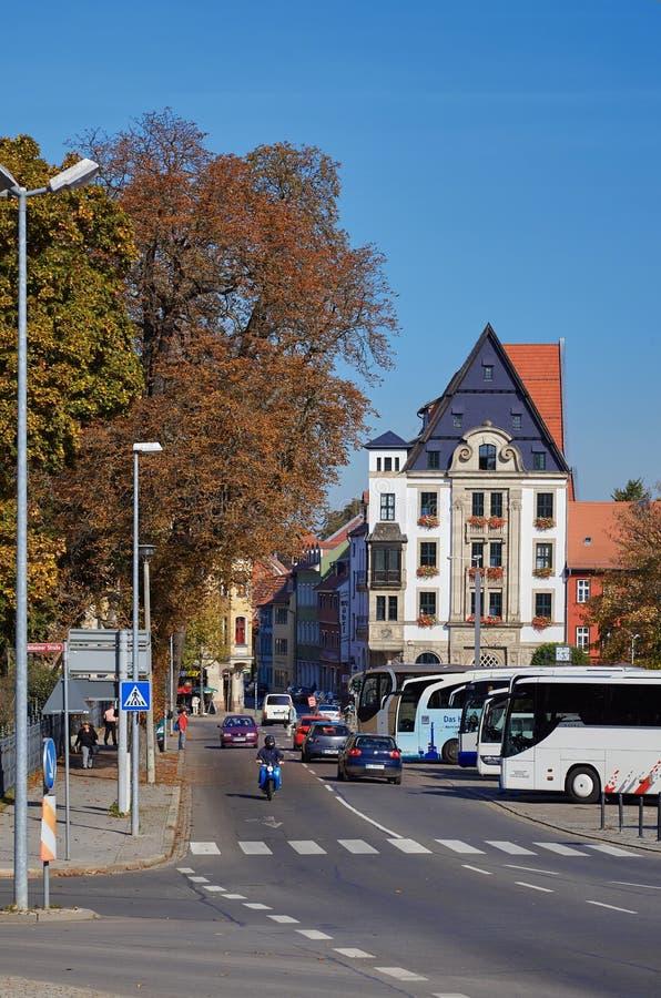 埃福特,主要城市图林根州,德国都市风景,有行的 库存照片