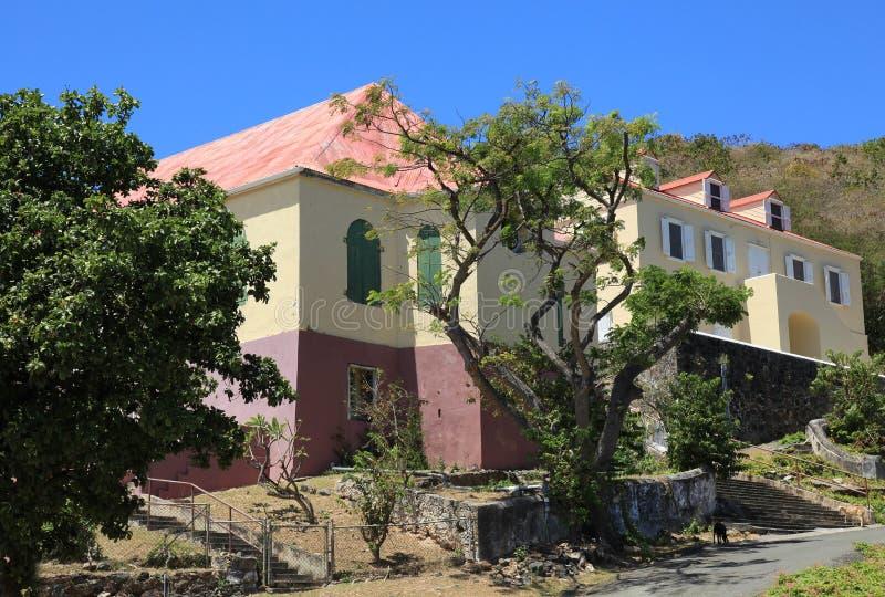 埃莫Moravian教会和牧师住宅在圣约翰 库存照片