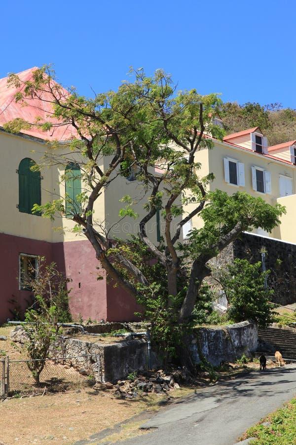埃莫Moravian教会和牧师住宅在圣约翰 库存图片