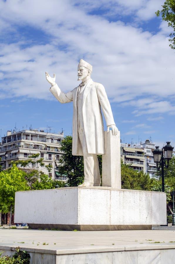 埃莱夫塞里奥斯・韦尼泽洛斯雕象在塞萨罗尼基,希腊 免版税库存图片
