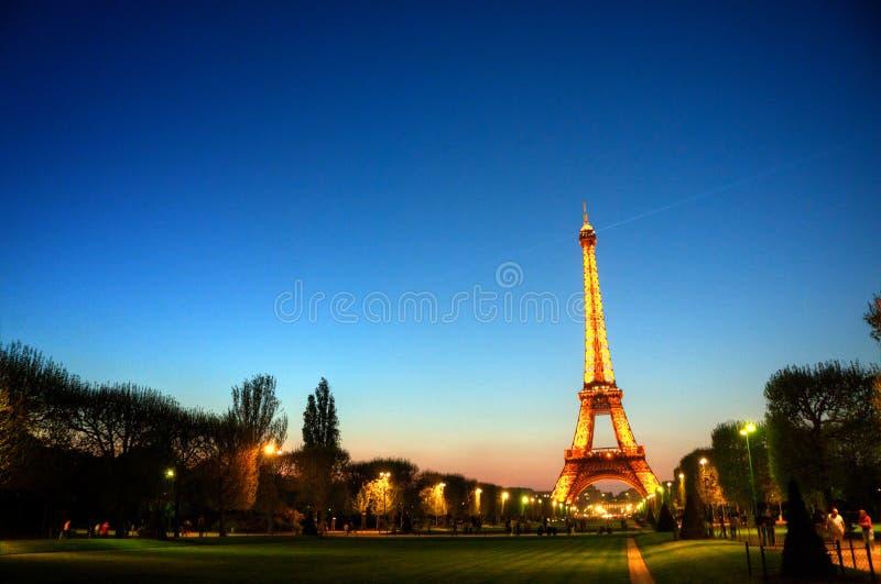 埃菲尔・法国巴黎日落塔 库存照片