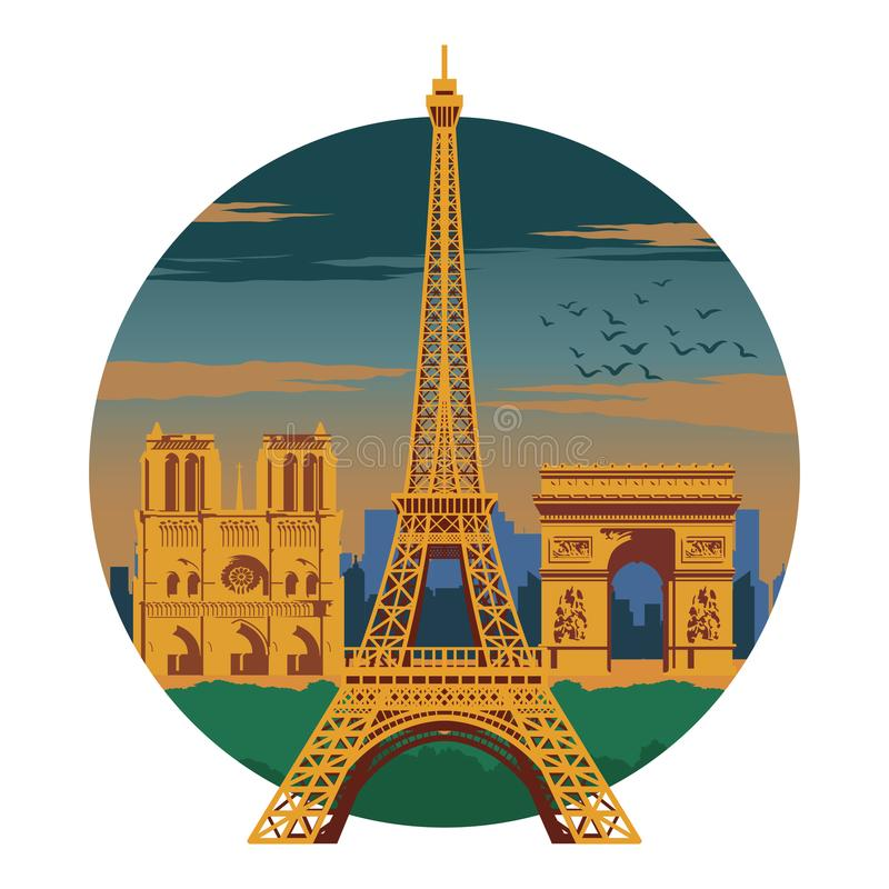 埃菲尔山塔和顶面著名法国的地标和标志,克洛的 向量例证
