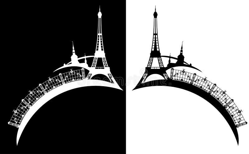 埃菲尔铁塔和巴黎市剪影传染媒介设计 皇族释放例证