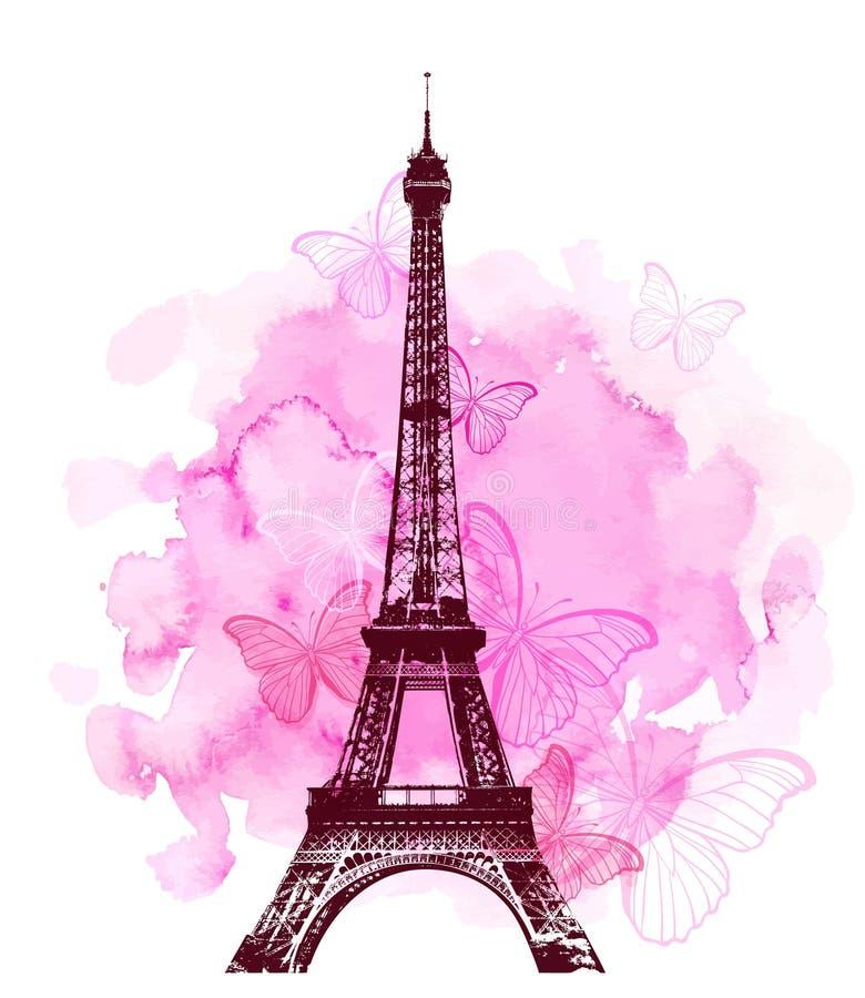 埃菲尔铁塔和蝴蝶在桃红色背景 向量例证