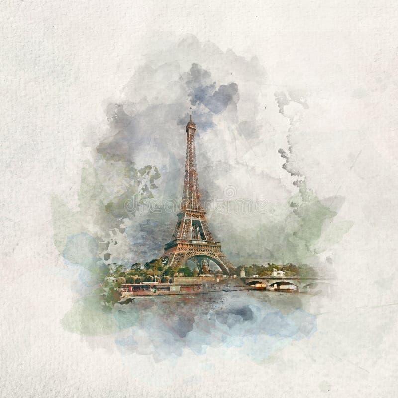埃菲尔铁塔在巴黎,水彩的法国 库存例证