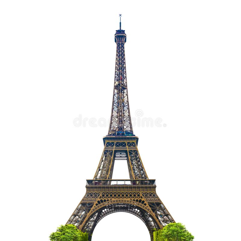 埃菲尔铁塔有白色背景 库存照片