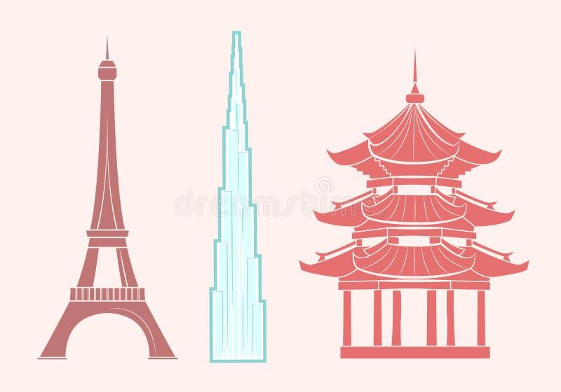 埃菲尔铁塔,Burj khalifa和中国寺庙 皇族释放例证