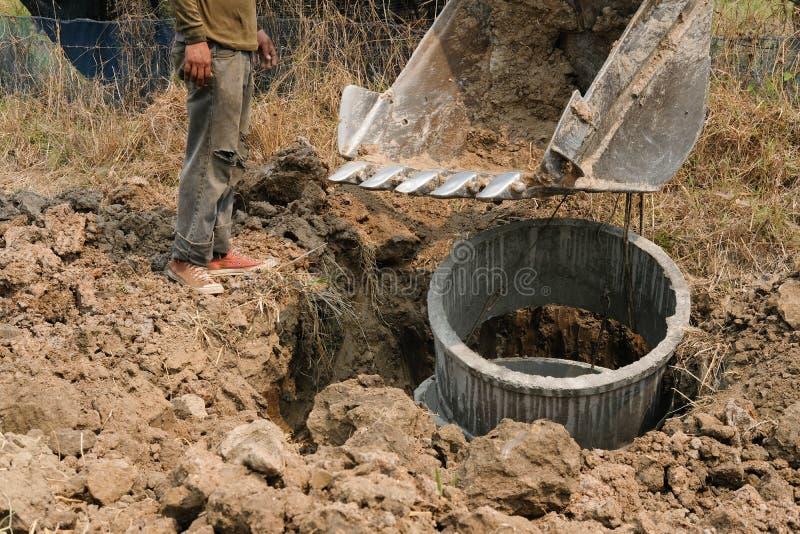 埋没在地面的挖掘机反向铲管子在工地工作 库存图片