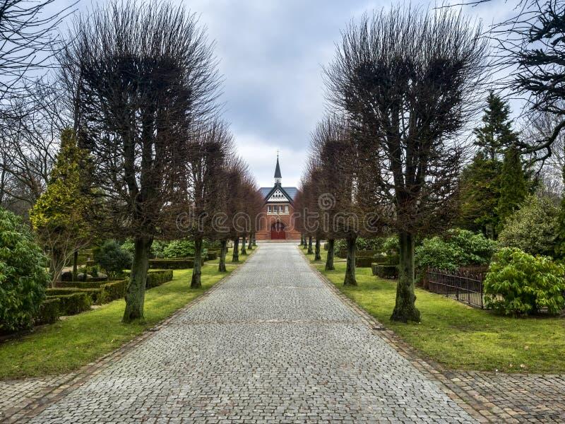 埋葬教堂在埃斯比约,丹麦 免版税库存照片