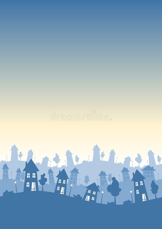 城内住宅垂直地平线 库存例证