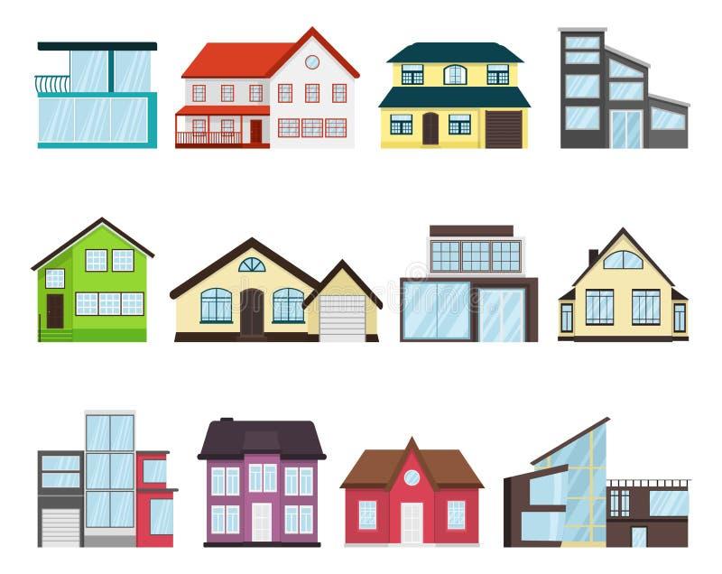 城内住宅村庄设置了不同家庭建筑学减速火箭和现代概念平的设计样式 住宅房子 向量例证