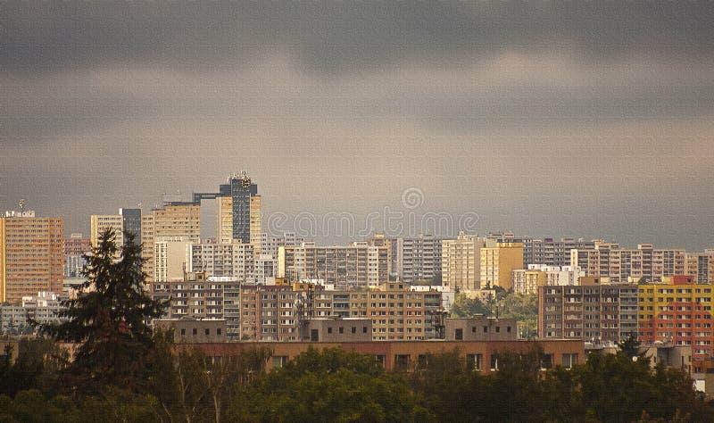 城区现代建筑背景全景 免版税库存照片