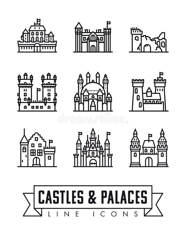 城堡、宫殿和堡垒导航象 皇族释放例证