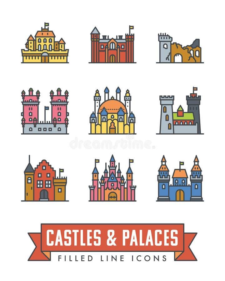 城堡、宫殿和堡垒导航颜色象 向量例证
