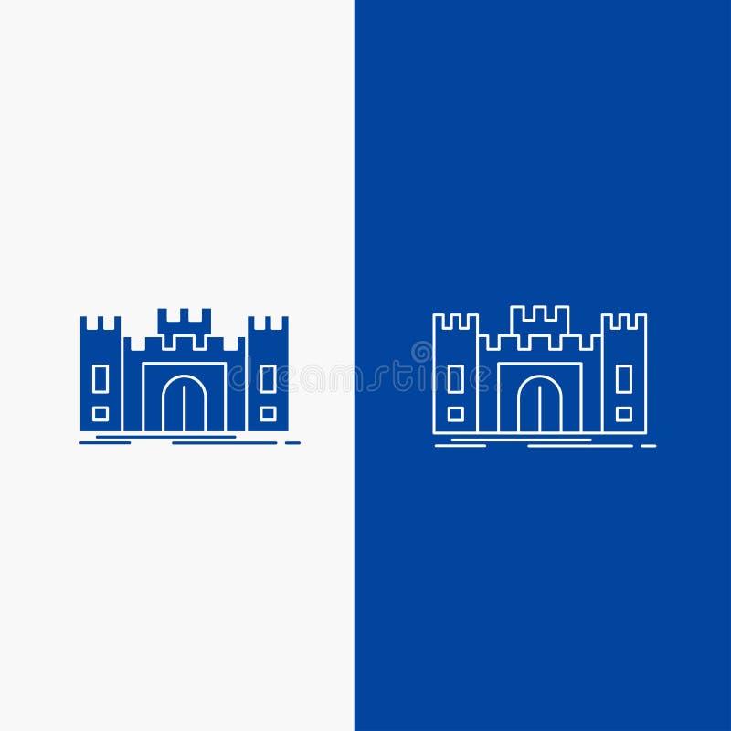 城堡、防御、堡垒、堡垒、地标线和纵的沟纹网按钮在蓝色垂直的横幅UI的和UX,网站或者机动性 库存例证