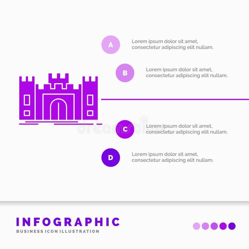 城堡、防御、堡垒、堡垒、地标Infographics模板网站的和介绍 r 库存例证
