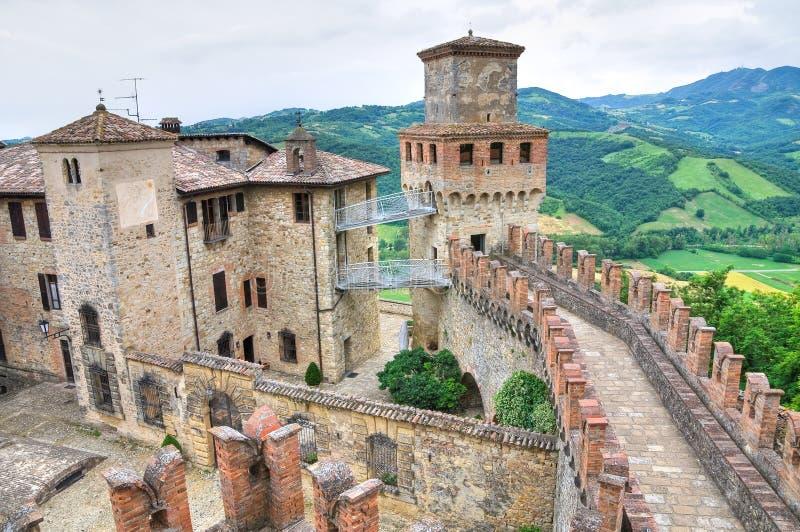城堡一点红・意大利romagna vigoleno 免版税库存图片