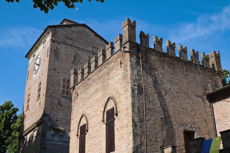 城堡一点红历史意大利romagna 库存图片