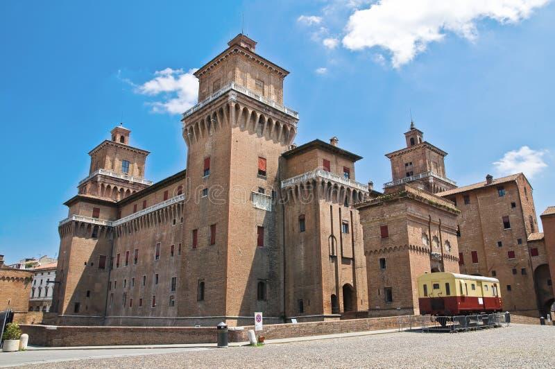 城堡一点红estense费拉拉意大利romagna 免版税库存照片
