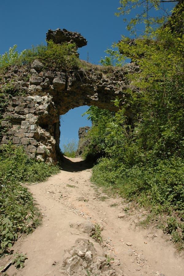 城堡中世纪废墟 免版税库存图片