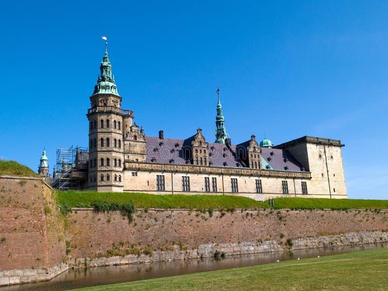 城堡丹麦小村庄kronborg 库存图片