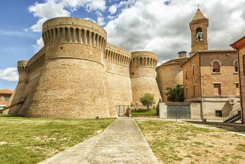 城堡乌尔比萨利亚马尔什意大利 库存图片