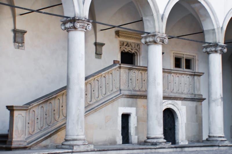 城堡克拉科夫柱子波兰wawel 图库摄影