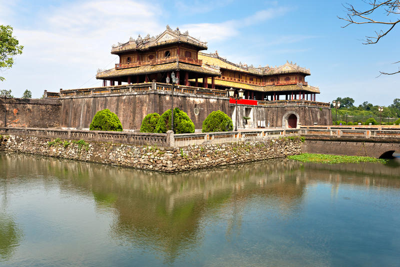 城堡入口颜色越南 库存图片